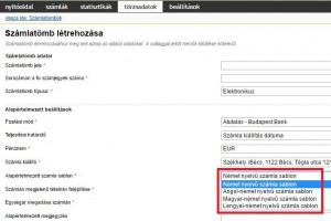 Osztrák és német ügyfeleink örömére az elérhető kétnyelvű számlasablonok listája bővült.