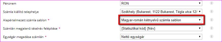 Magyar-Román kétnyelvű számlasablon